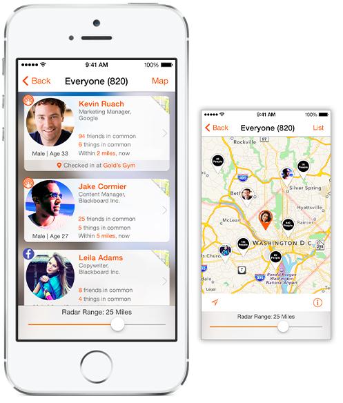 SocialRadar cards map