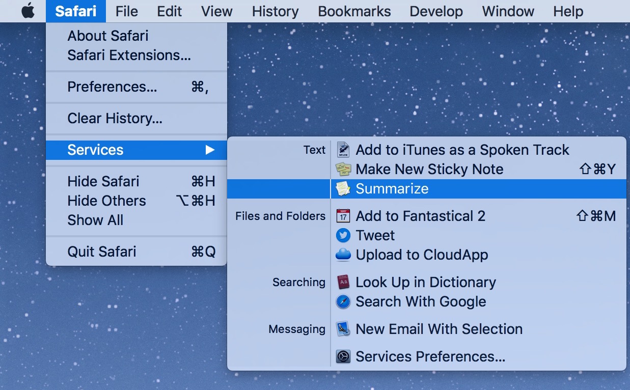 Resumir texto en Safari