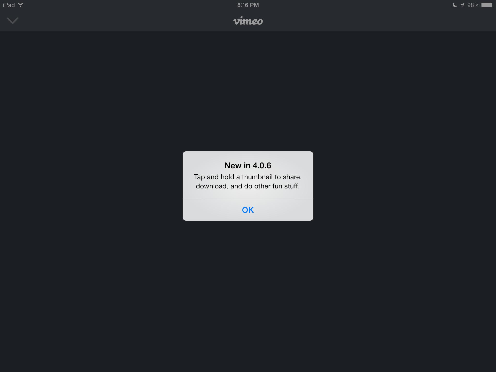 Vimeo 4.0.6 for iOS (iPad screenshot 002)