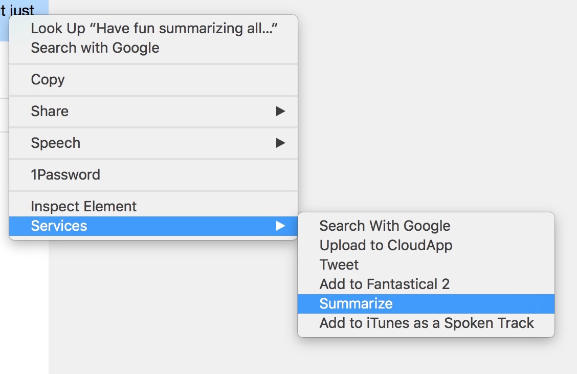 how to summarize text Mac