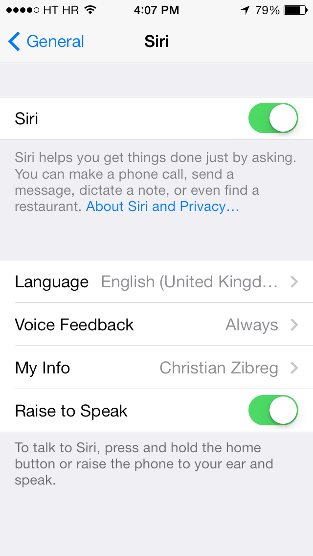 iOS 7.0.4 (Siri language settings, UK 001)