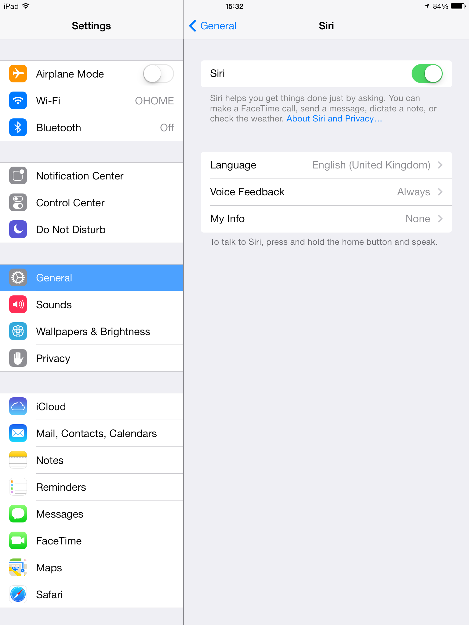 iOS 7.0.4 (Siri language settings, iPad mini UK 001)