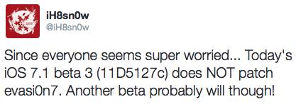 iOS 7.1 beta 3 evasi0n7