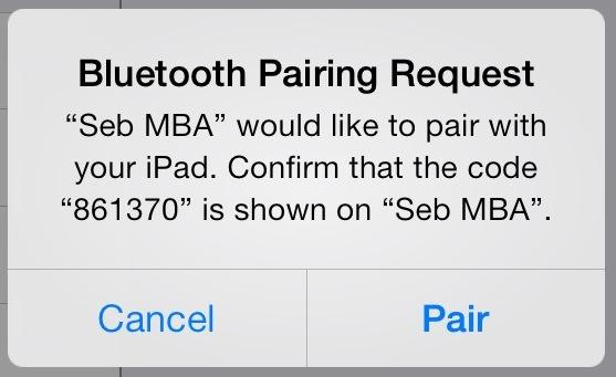 iPad Bluetooth MacBook pairing