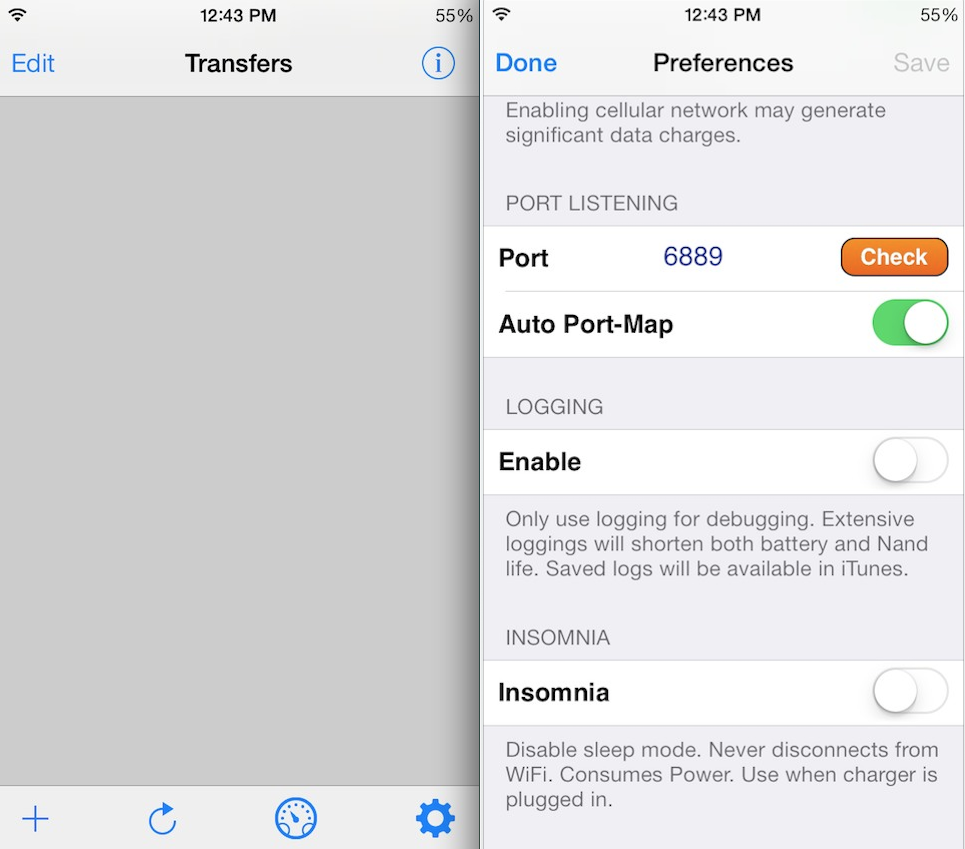 iTransmission BitTorrent client updated for iOS 7, ARM64 devices