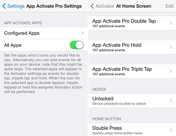 App Activate Pro Settings