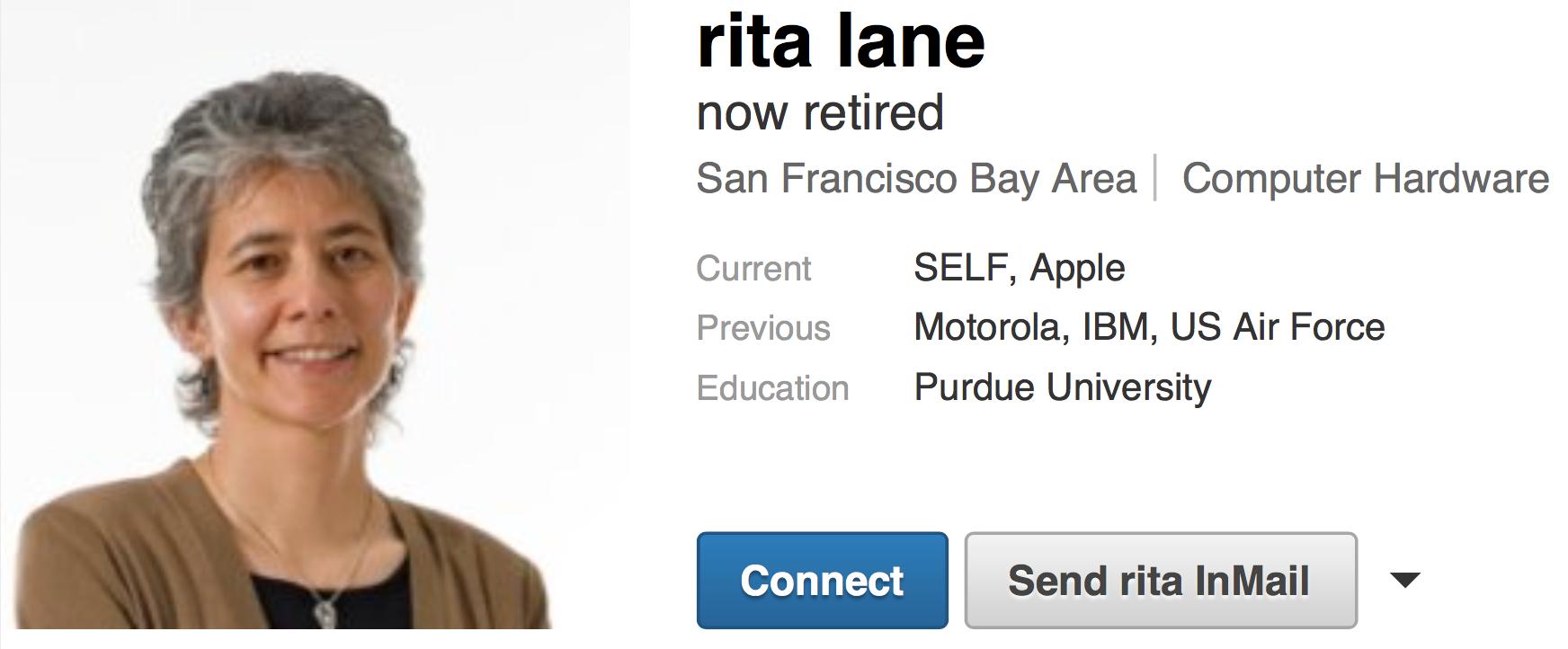 Apple Rita Lane (LinkedIn, retired)