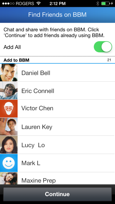 BBM for iOS 1.0.5.134 (Find Friends)