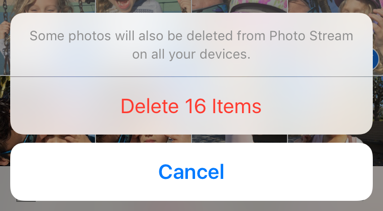 Confirm photos to delete
