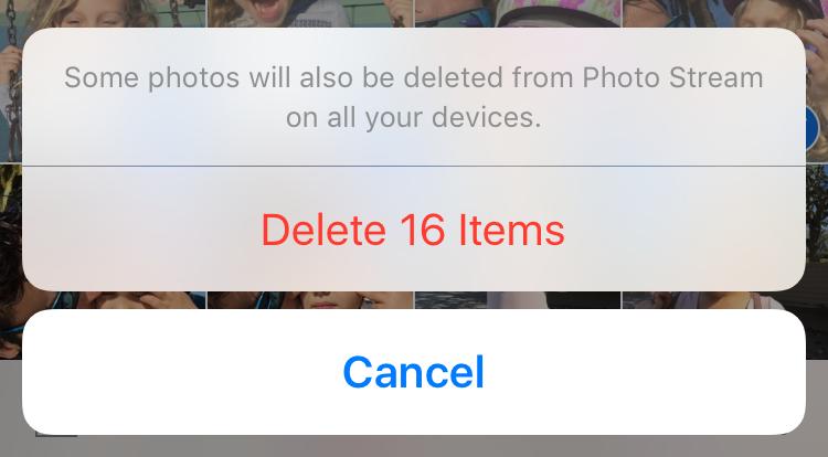 Confirmar fotos para eliminar