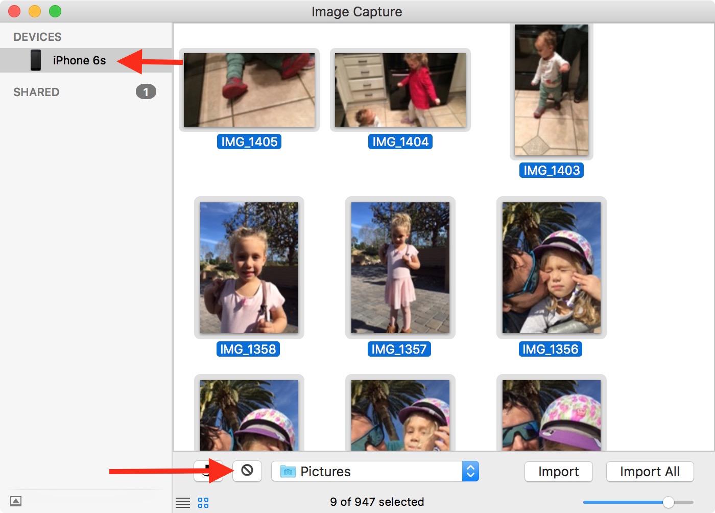 Eliminar todas las fotos en Captura de imagen