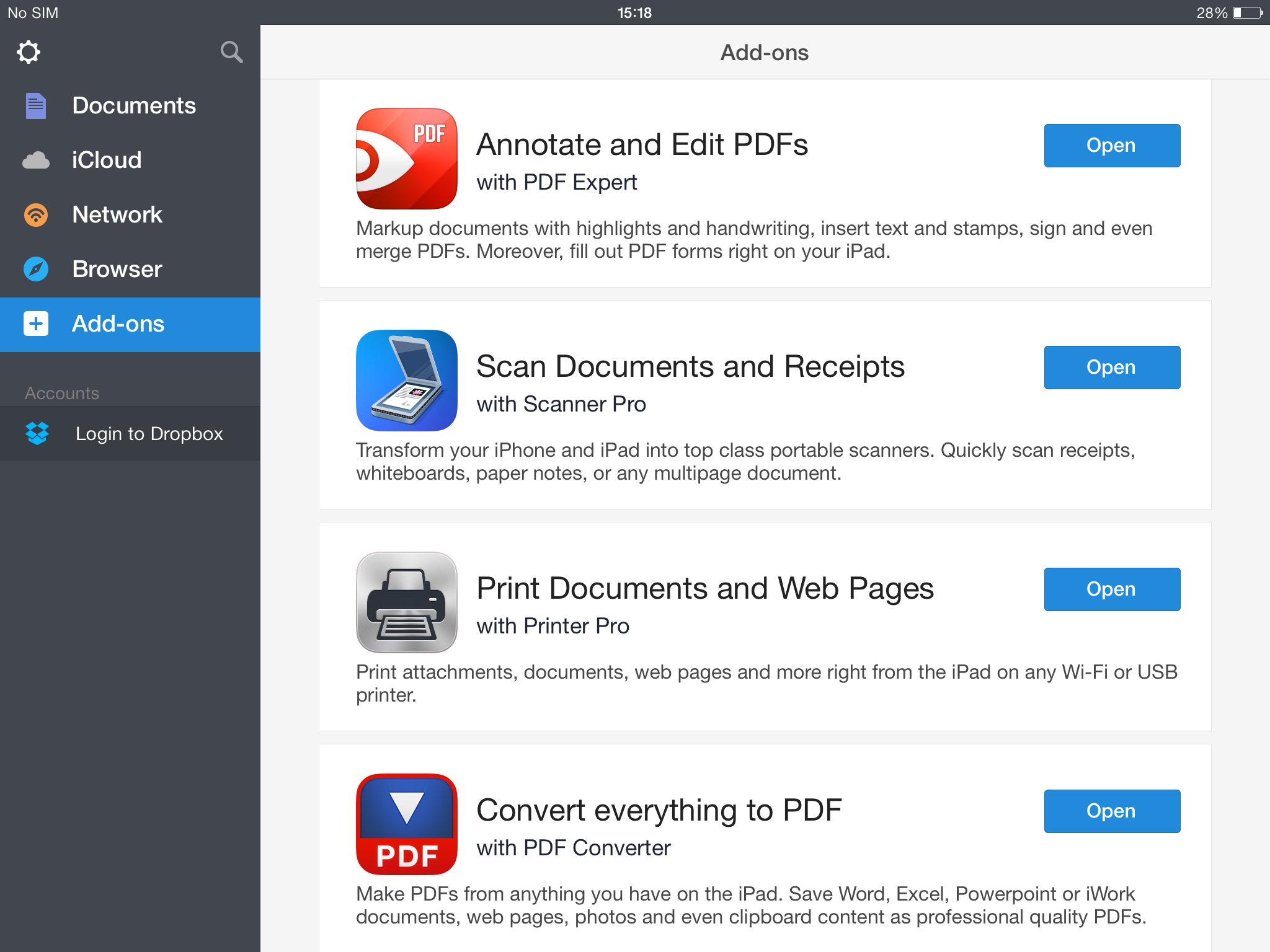 Documents 5 by Readdle (iPad screenshot 001)
