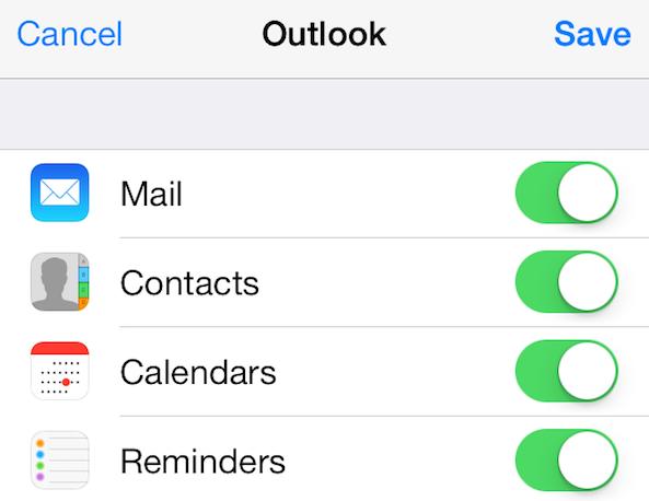 Calendarios de contactos de correo electrónico de Hotmail en iPhone