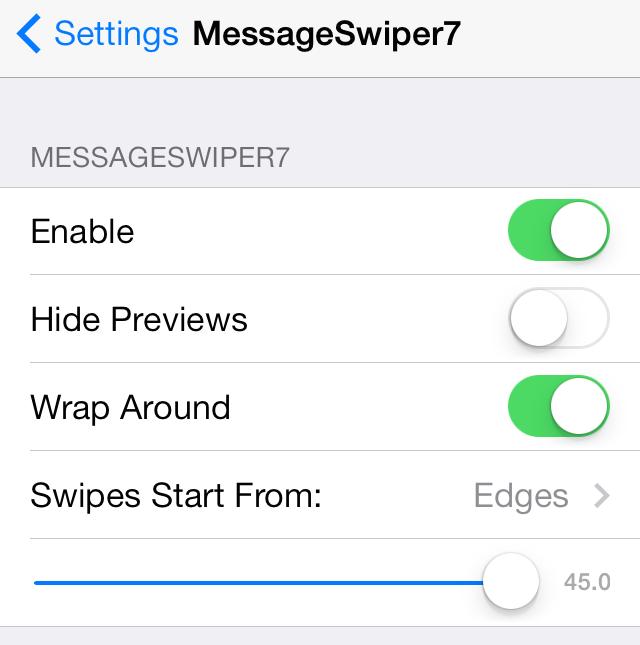 MessageSwiper Settings