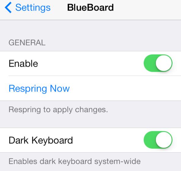 Resized BlueBoard Settings