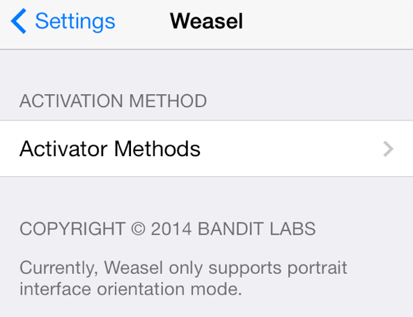 Resized Weasel Settings