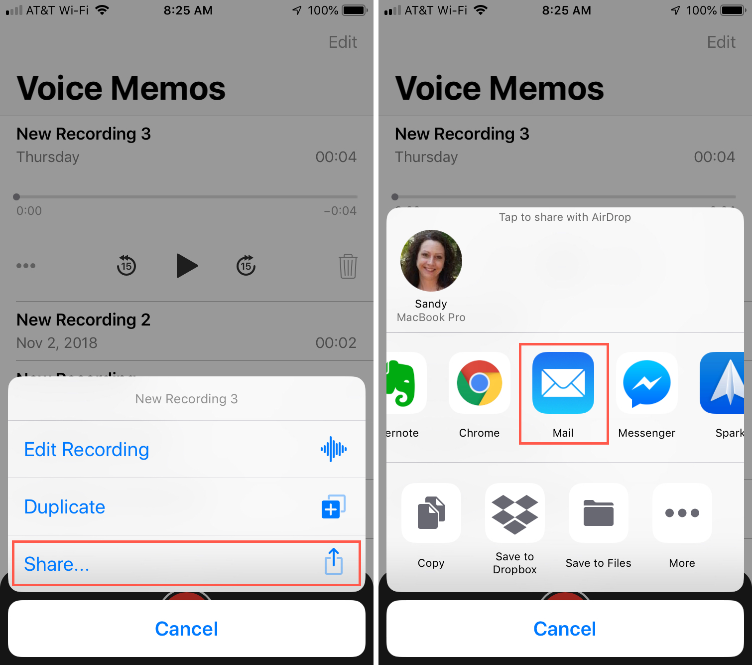 Share Voice Memo via Email iPhone