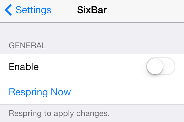 SixBar Settings