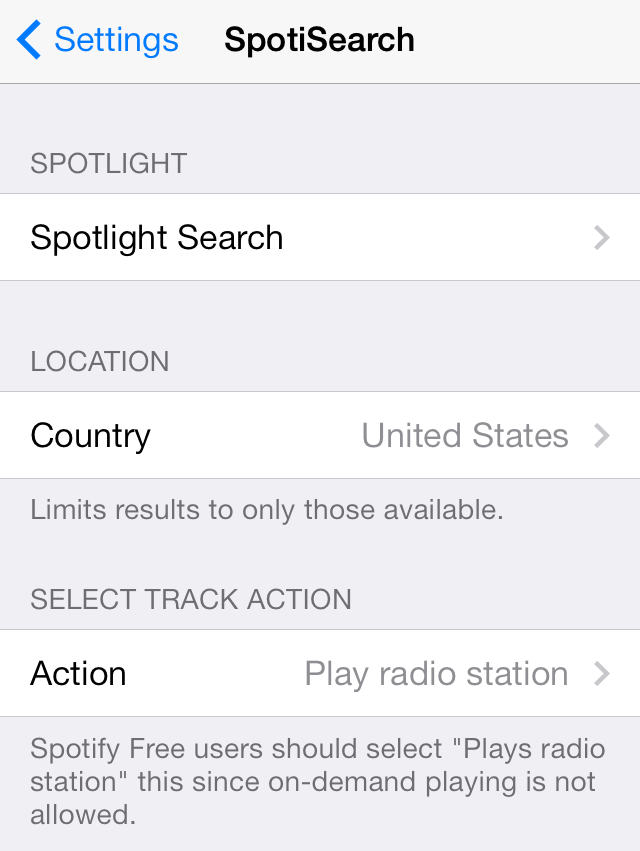 SpotiSearch Settings