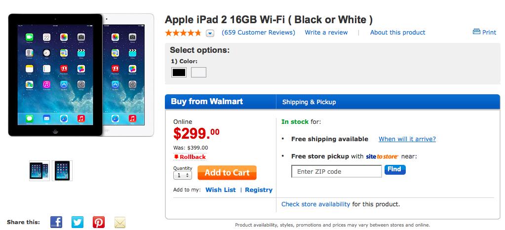 Walmart iPad 2 rollback