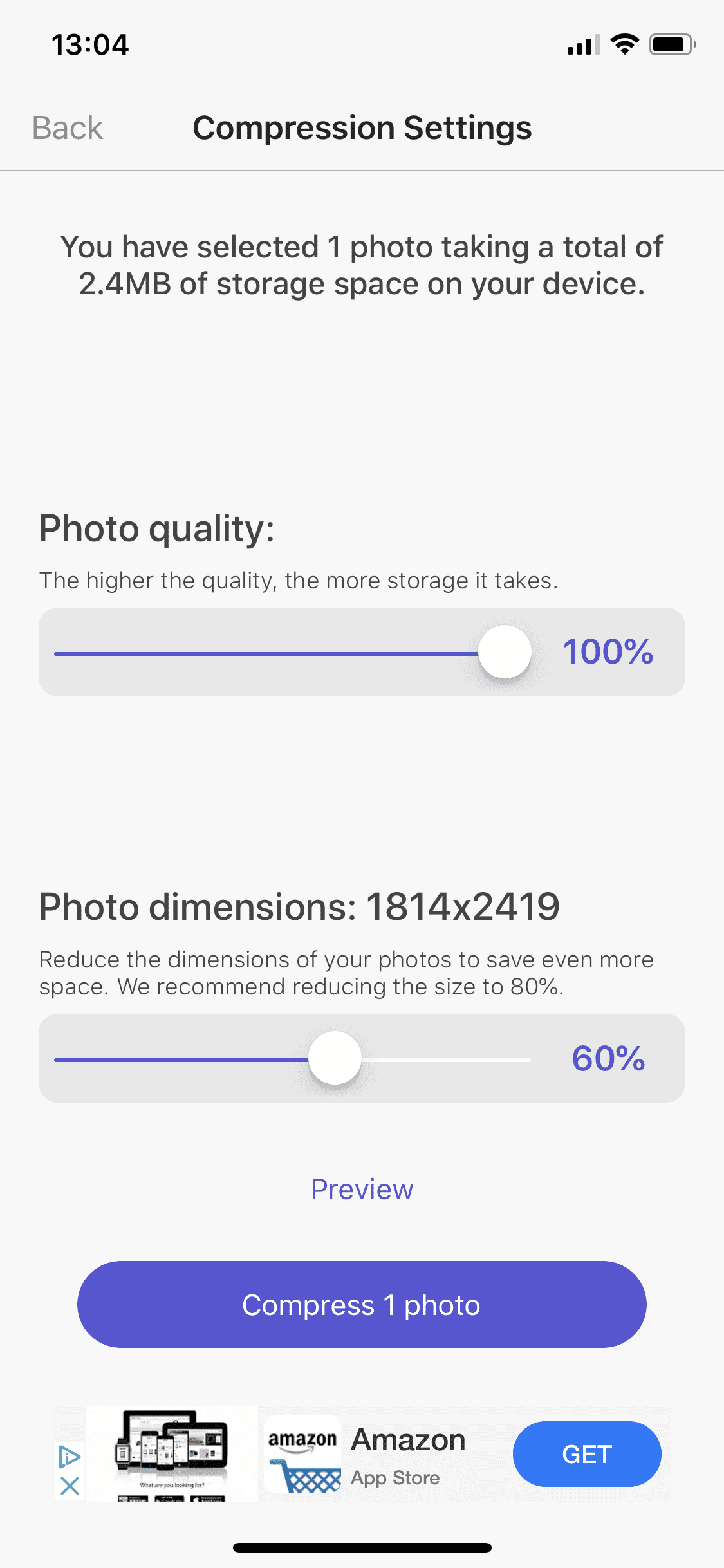 change photo dimensions