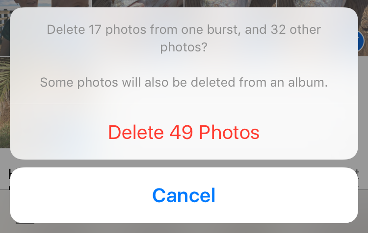 delete photos in moments
