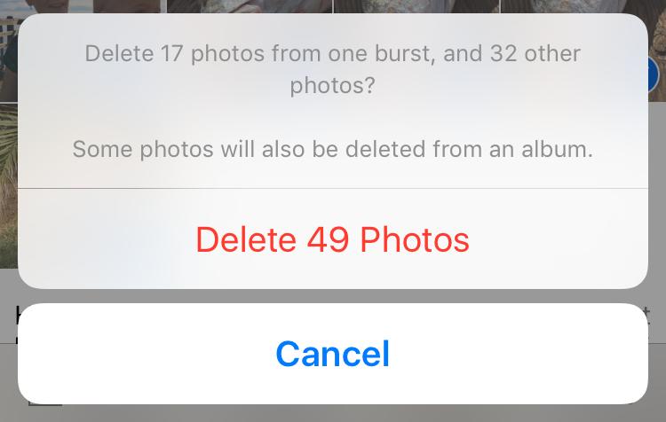 borrar fotos en instantes
