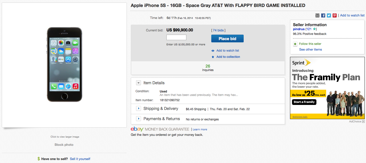 ebay flappy bird