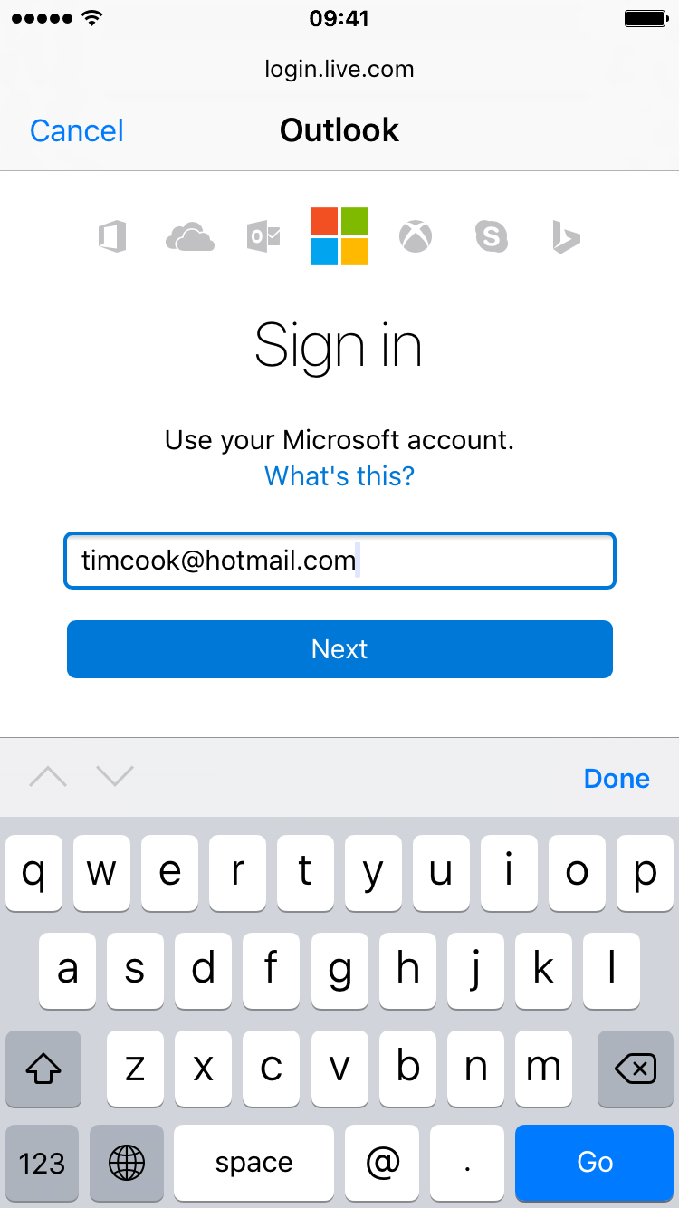 Enter Hotmail email address