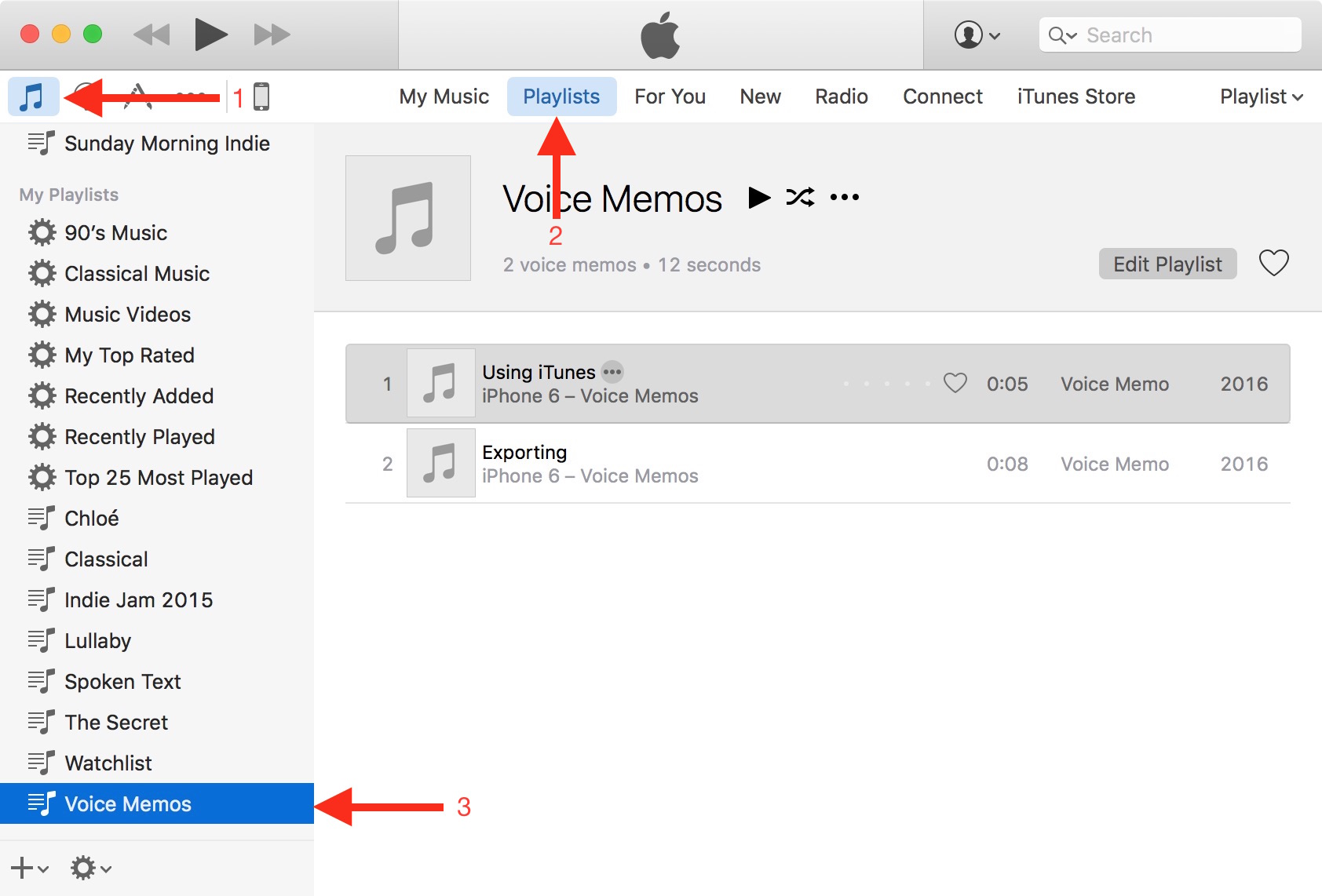 find voice memo in itunes