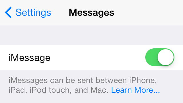 iOS 7 Messages Main Toggle