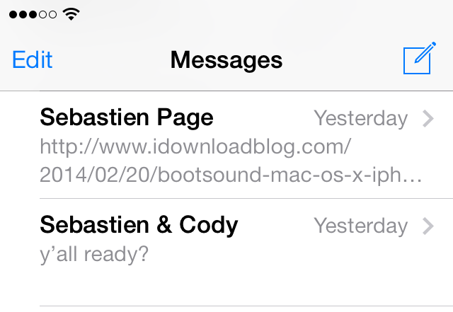 iOS 7 Messages two threads