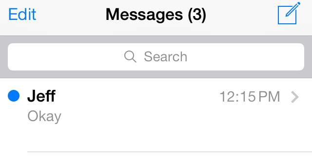 iOS 7 Messages unread