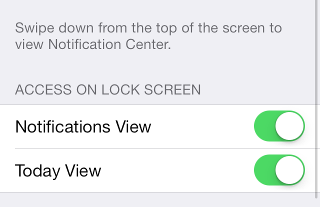 iOS 7 Notification Center Access on Lock Screen
