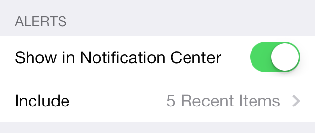 iOS 7 Notification Center Alerts show in notification center