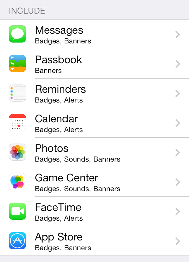 iOS 7 Notification Center Include