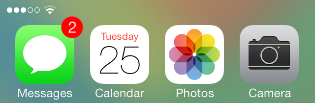 iOS 7 Notification Center Messages App Badge