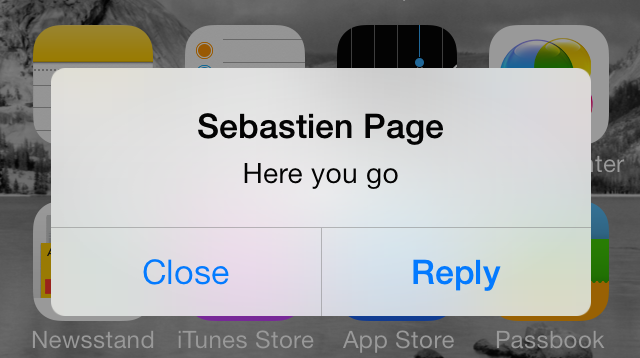 iOS 7 Notification Center Static Alert