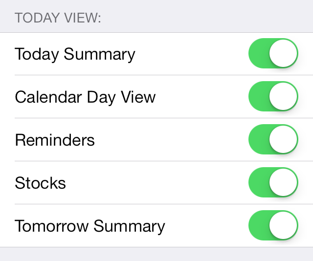 iOS 7 Notification Center Today View
