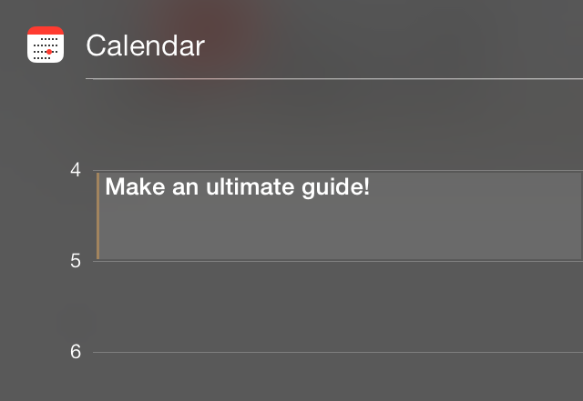 iOS 7 Notification Center Today view calendar