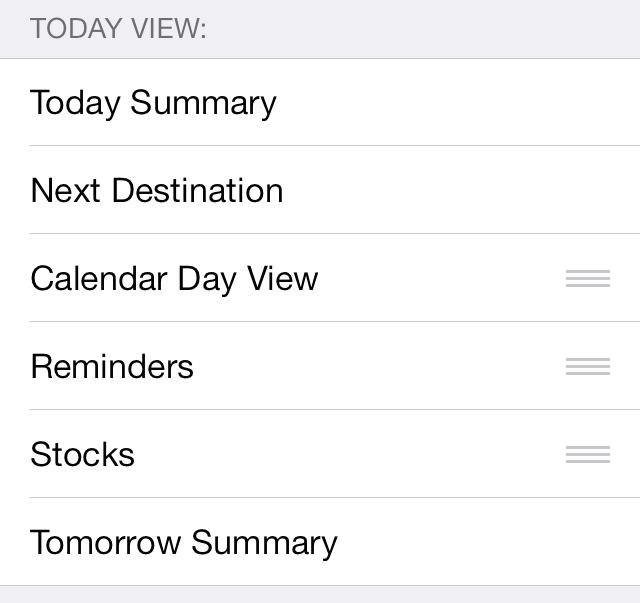 iOS 7 Notification Center Today view edit