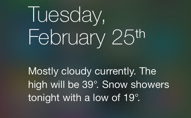 iOS 7 Notification Center Today weather