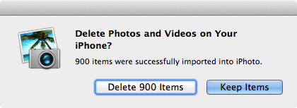 iPhoto elimina fotos importadas