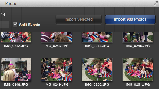 iPhoto import photos