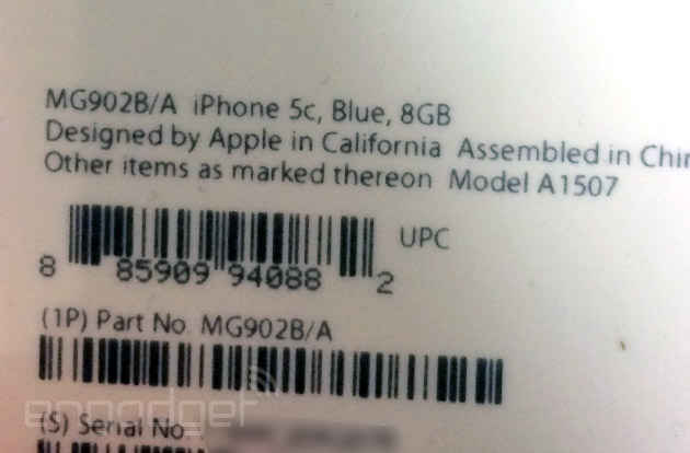 8GB iPhone 5c (label packaging)