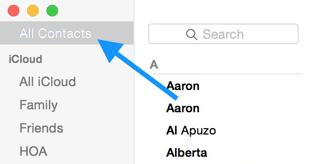 All Contacts tab on Mac