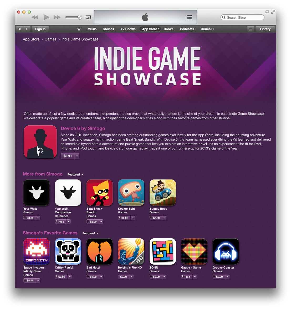 App Store (Indie Game Showcase, desktop iTunes screenshot)
