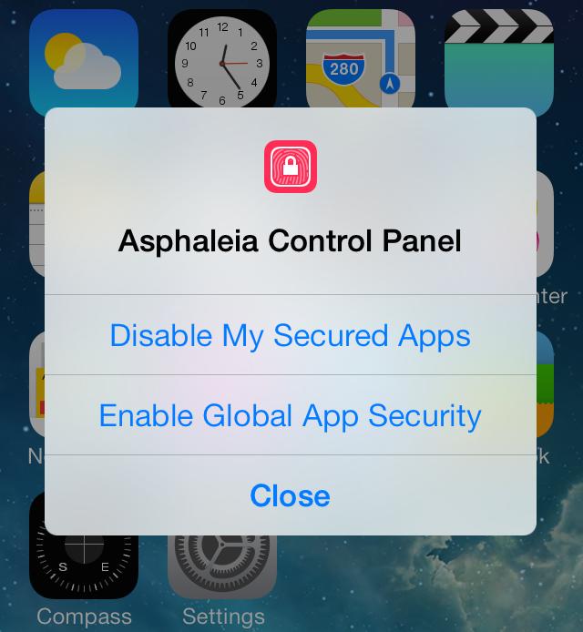 Asphaleia Control Panel Overlay