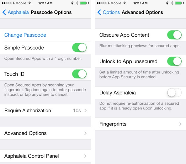 Asphaleia Passcode Options
