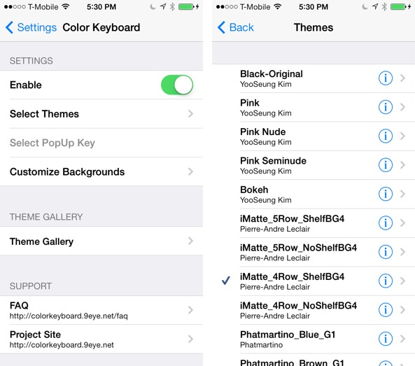 Color Keyboard iOS 7 Settings
